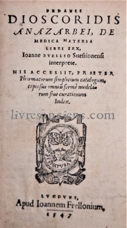 Photo DIOSCORIDES, Pedanius    RUEL, Jean.