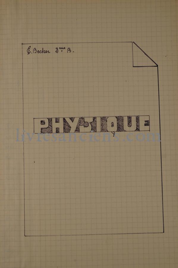 Photo [MANUSCRIT DE PHYSIQUE].