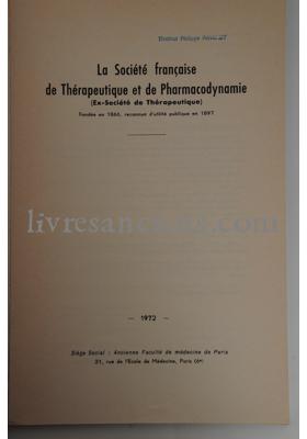 Photo La Société française de Thérapeutique et de Pharmacodynamie (ex-société de Thérapeutique).