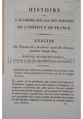 Photo ACADÉMIE ROYALE DES SCIENCES || GIRARD, Pierre-Simon || POINSOT, Louis || DELAMBRE, Jean Baptiste Joseph || CUVIER, Georges.
